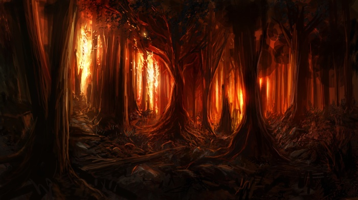 digital art, nature, trees, branch, fire, wood, painting, forest, burning, artwork