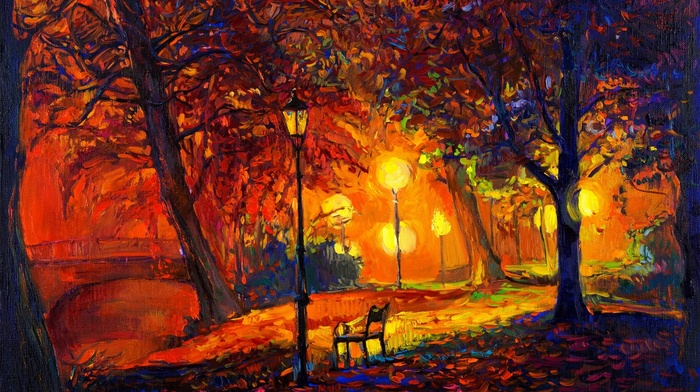 fall, artwork, park, digital art, modern impressionism, trees, lamps, bench, painting, nature, leaves