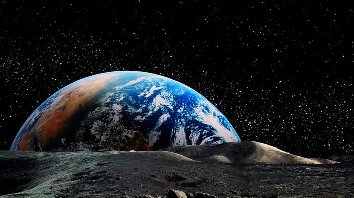planet, horizon, landscape, Earth, moon, space, universe, stars, nature, astronomy