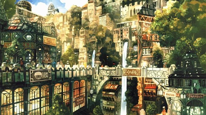 fantasy art, mountain, city