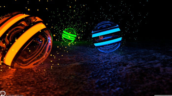 green, orange, blue, sphere, CGI