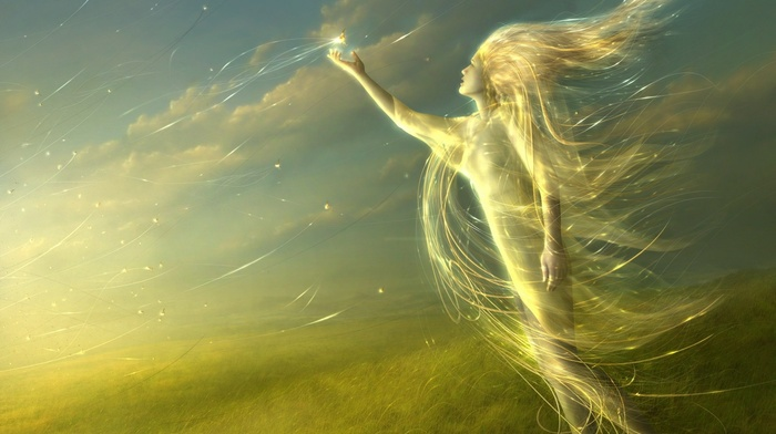 gold, wind, fantasy art