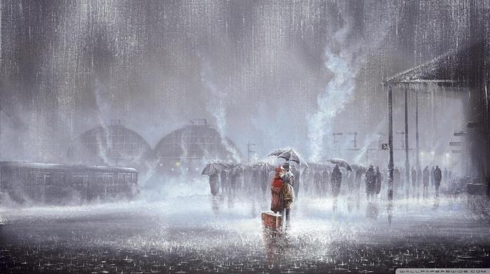 train station, painting, rain, kissing