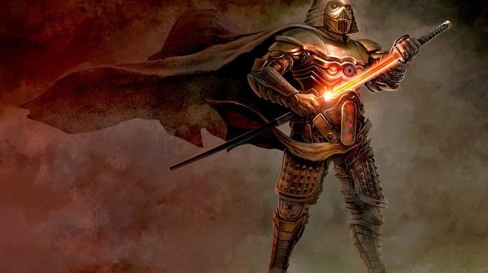 samurai, artwork, Star Wars, concept art, sword, fantasy art, Darth Vader, katana