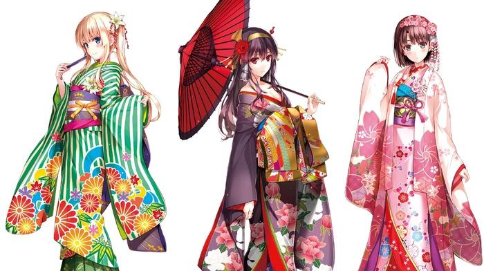 anime girls, Katou Megumi, anime, Japanese clothes, kimono, Kasumigaoka Utaha, Sawamura Eriri Spencer, Saenai Heroine no Sodatekata