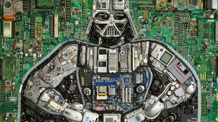 Nintendo, computer mice, hardware, motherboards, Darth Vader, floppy disk, controllers, Star Wars, Ipod, circuit boards