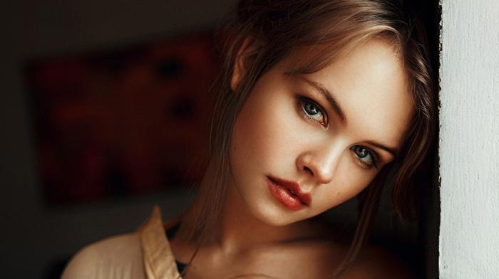 open mouth, looking at viewer, face, portrait, tattoo, red lipstick, girl, model, blue eyes, blonde, Georgiy Chernyadyev, long hair, Anastasia Scheglova