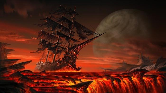 Clouds Hill Planet Fantasy Art Sea Lava Wallpaper