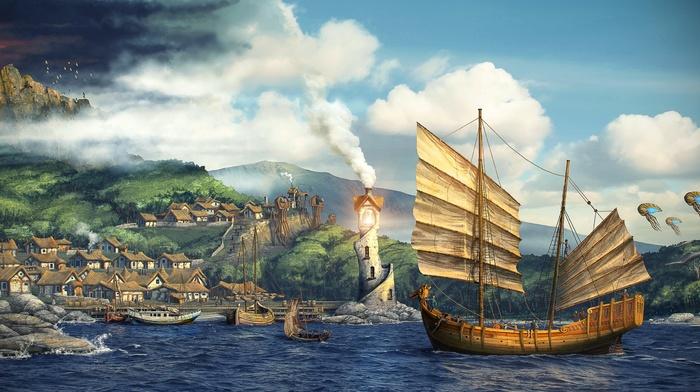 mist, The Elder Scrolls III Morrowind, nature, clouds, water, birds, digital art, house, video games, mushroom, smoke, fantasy art, sea, mountain, rock, hill, lighthouse