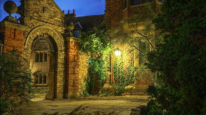 architecture, arch, HDR, UK, tiles, lantern, bricks, gates, nature, lamps, old building, trees, England, plants, window, lights, evening, cottage