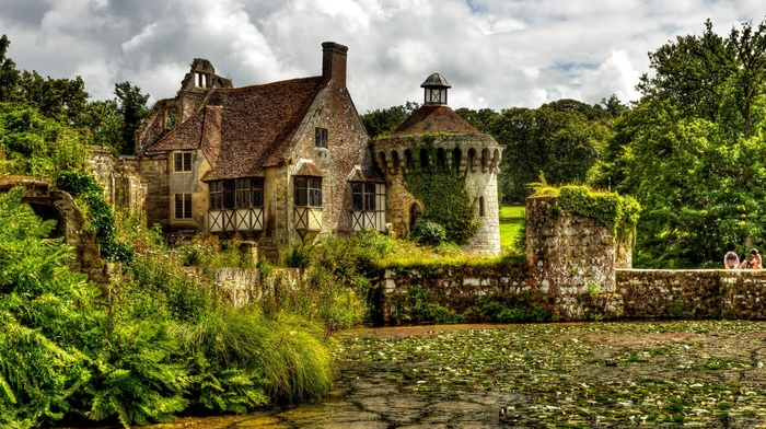 architecture, UK, clouds, lake, plants, forest, HDR, old building, England, Scotney Castle, couple, nature, trees, bricks