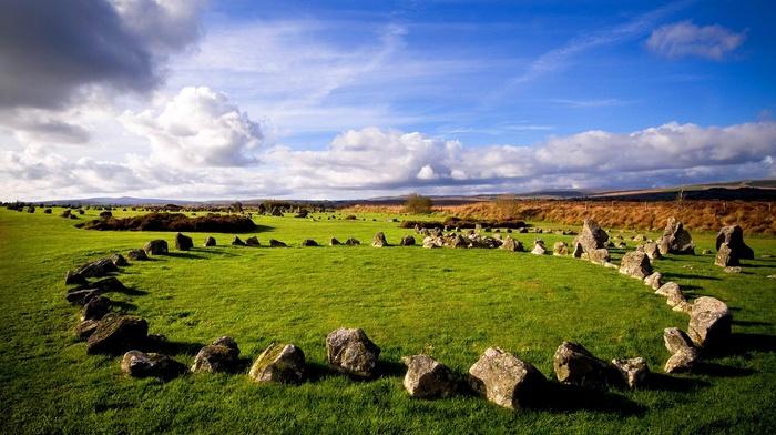ancient, grass, clouds, landscape, sky, horizon, trees, stones, rock, Ireland