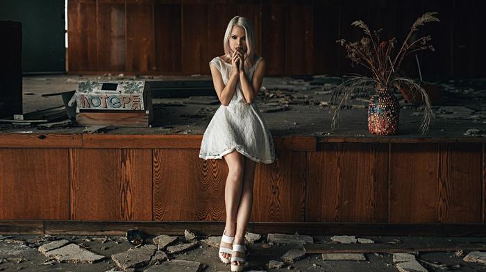 girl, model, white dress, ruin, interiors