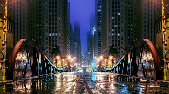 bridge, window, metal, night, wet, Chicago, mist, cityscape, skyscraper, building, city, street light, lights, USA, architecture