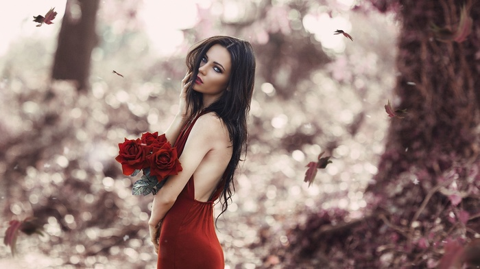 blue eyes, flowers, leaves, red lipstick, brunette, red dress, girl, rose, Alessandro Di Cicco, girl outdoors, model