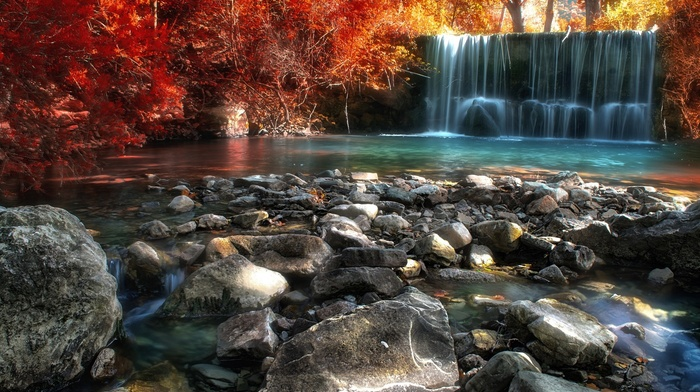 sunlight, Italy, stones, colorful, river, red, leaves, waterfall, nature, trees, pond, yellow, landscape, fall, forest