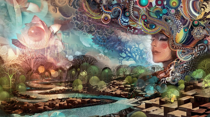 trees, artwork, fantasy art, abstract, painting, geometry, closed eyes, circle, ornamented, digital art, water, face, girl, Android Jones, 3D