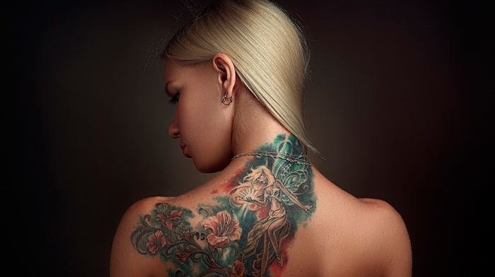simple background, rear view, bare shoulders, back, portrait, girl, long hair, face, blonde, tattoo, earrings, looking down, model