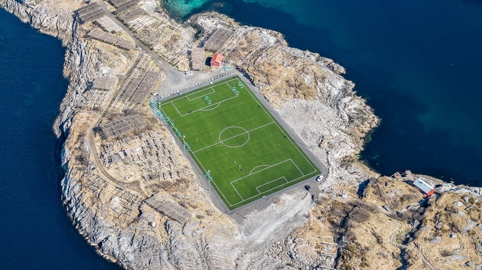 Norway, Lofoten Islands, soccer pitches, field, aerial view, landscape, soccer, sea