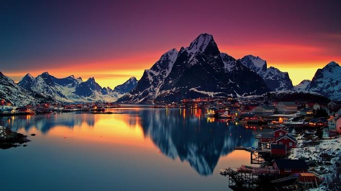 sunset, nature, Reine, Lofoten Islands, snow, Norway, water, mountain, reflection, sea, Lofoten, winter
