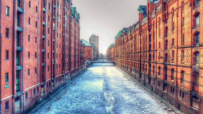 winter, sky, dock, old building, bridge, frozen river, cityscape, Germany, river, HDR, bricks, building, ports, ice, city, architecture, Hamburg