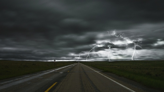 field, fence, lightning, road sign, clouds, long exposure, storm, sky, landscape, road, nature