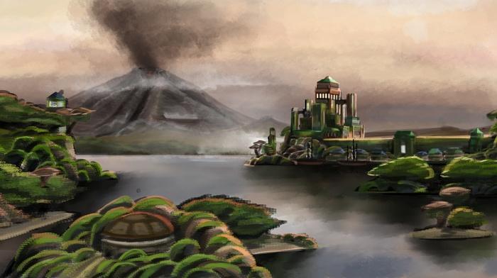 island, water, fantasy art, volcano, smoke, building, mist, trees, digital art, nature, painting