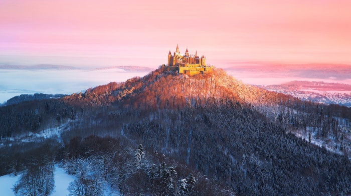 castle, nature, hill, clouds, Hohenzollern, snow, winter, forest, trees, mist, Germany, sunset, landscape, building