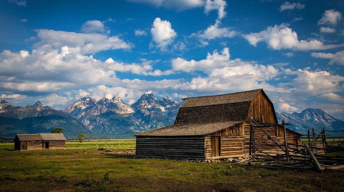 house, fence, snowy peak, USA, Grand Teton National Park, grass, wyoming, trees, wood, building, nature, clouds, landscape, field, mountain