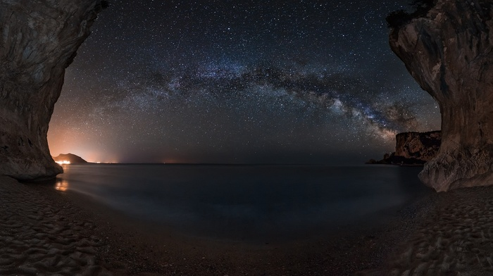 starry night, beach, sea, lights, landscape, cave, Milky Way, sand, nature, Sardinia, sky, galaxy, long exposure