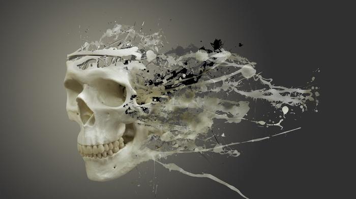simple background, teeth, digital art, paint splatter, gray background, artwork, skull