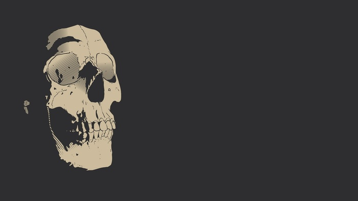 simple background, teeth, monochrome, digital art, gray background, skull, drawing, minimalism