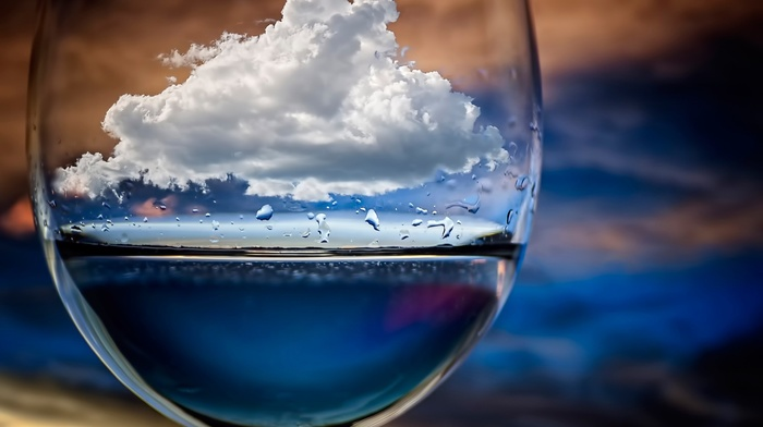 depth of field, water drops, sky, photo manipulation, water, artwork, clouds, nature, drinking glass