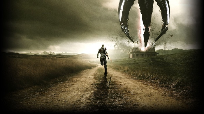 sky, Mass Effect, warrior, Chaos, road, spaceship, aliens, grass