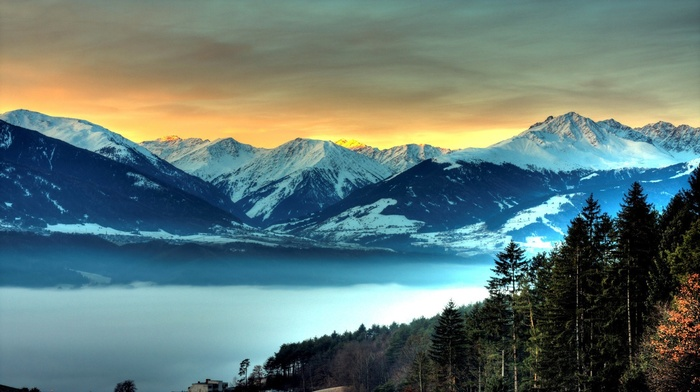 forest, mountain, evening, pine trees, nature, sunset, mist, clouds, snowy peak, trees, house, hill, landscape, rock