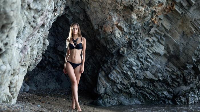 blonde, girl, bikini, cave, portrait, black bikinis