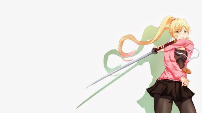 blonde, monogatari series, anime girls, anime, Oshino Shinobu, long hair