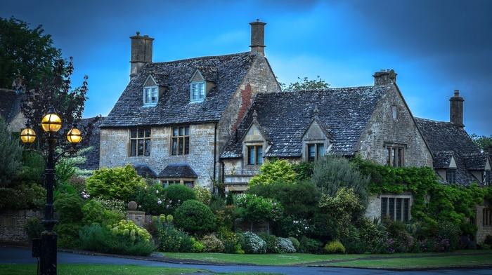nature, grass, cottage, shrubs, flowers, UK, garden, architecture, landscape, lantern, house