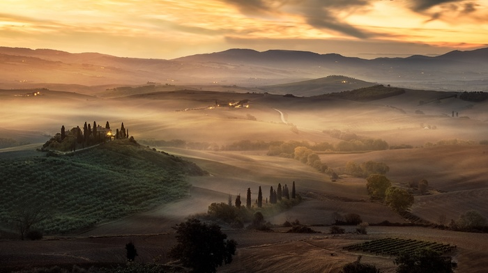 sunrise, hill, sky, mist, Tuscany, nature, landscape, trees, Italy, clouds, field