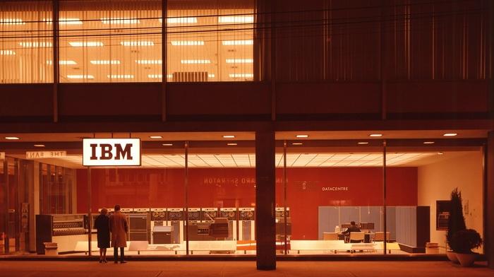1980s, IBM, office, evening, street, history