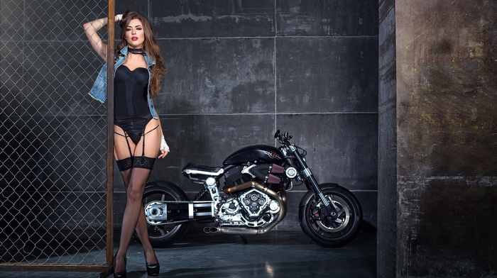 model, bustiers, lingerie, girl with bikes, girl, motorcycle