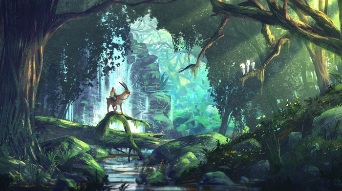 Studio Ghibli, Princess Mononoke, anime, forest, fantasy art