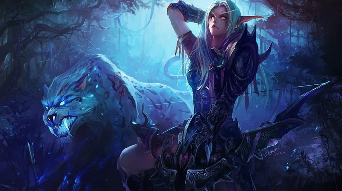 World of Warcraft, elves, Warcraft, Night Elves, bow and arrow