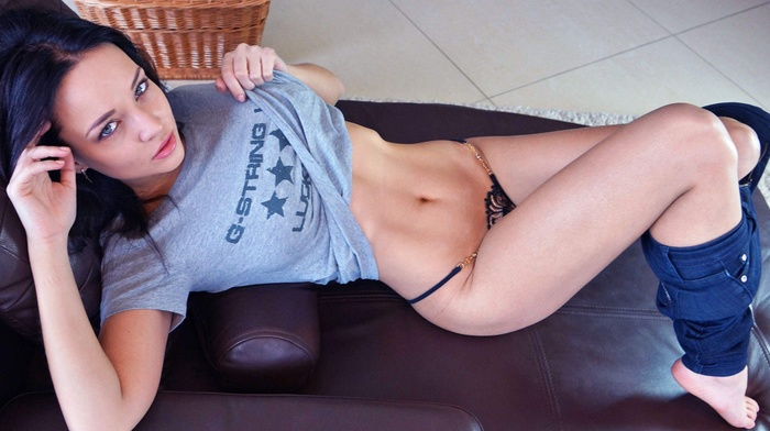 model, T, shirt, lingerie, jeans, girl, Angelina Petrova, Pants down, flat belly