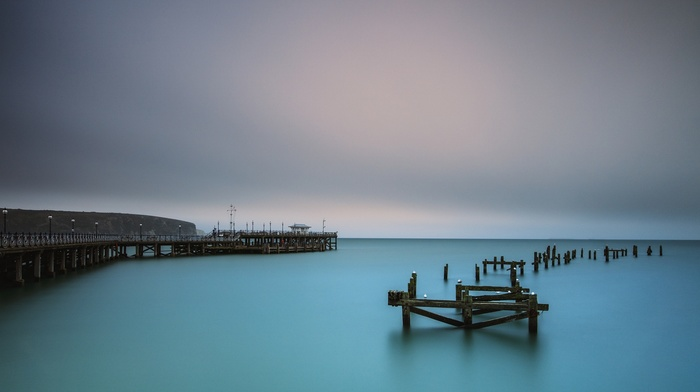 pier, water, sea, landscape, old, turquoise, bridge, UK, nature, calm, morning
