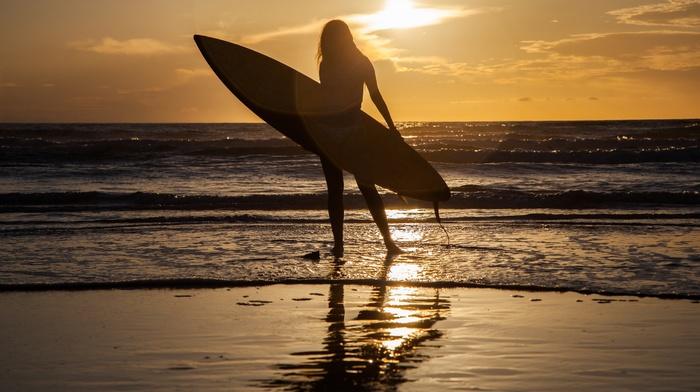 girl, surfing, silhouette, sea