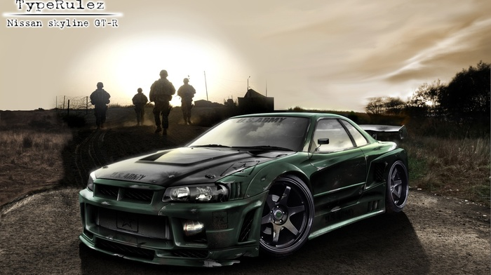 sea, camera, weapon, lens, race cars, Nissan Skyline GT, R R34, bullet, shark, sony
