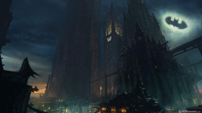 skyscraper, superhero, DC Comics, artwork, concept art, Batman, Gotham City