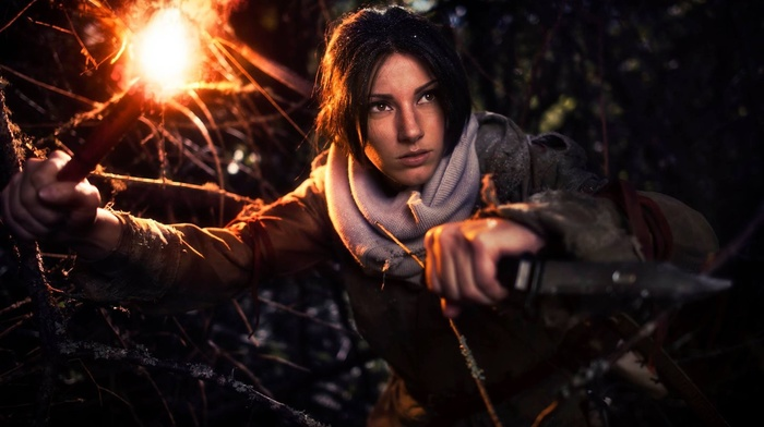cosplay, girl, Tomb Raider, knife, long hair