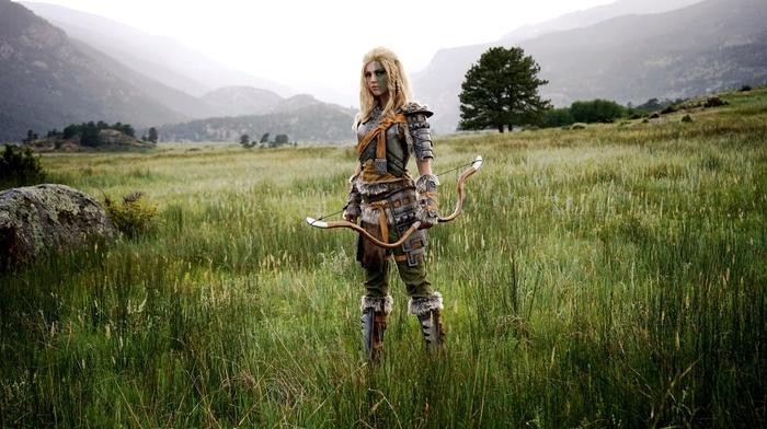 armor, nature, the elder scrolls v skyrim, long hair, cosplay, girl, bows